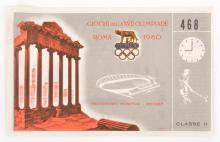 1960 ROME OLYMPIC GAMES TICKET- HOCKEY (AUSTRALIA V INDIA)
