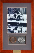 BOB BEAMON AUTOGRAPHED FRAMED PHOTO WITH GOLD AND SILVER PATICIPATION MEDALS FROM THE 1968 MEXICO CITY OLYMPICS