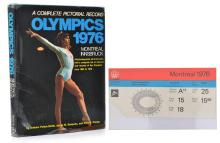 1976 MONTREAL OLYMPIC GAMES PICTORIAL RECORD BOOK WITH MONTREAL ATHLETICS STADIUM TICKET
