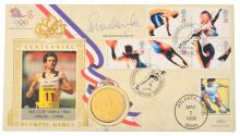 A SEB COE SIGNED FIRST DAY COVER AND MEDAL; 1500M GOLD; FROM THE 1980 MOSCOW OLYMPIC GAMES