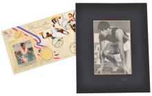 ALLAN WELLS SIGNED FIRST DAY COVER AND MEDAL; 100M GOLD; WITH SIGNED PHOTOGRAPH FROM THE 1980 MOSCOW OLYMPIC GAMES