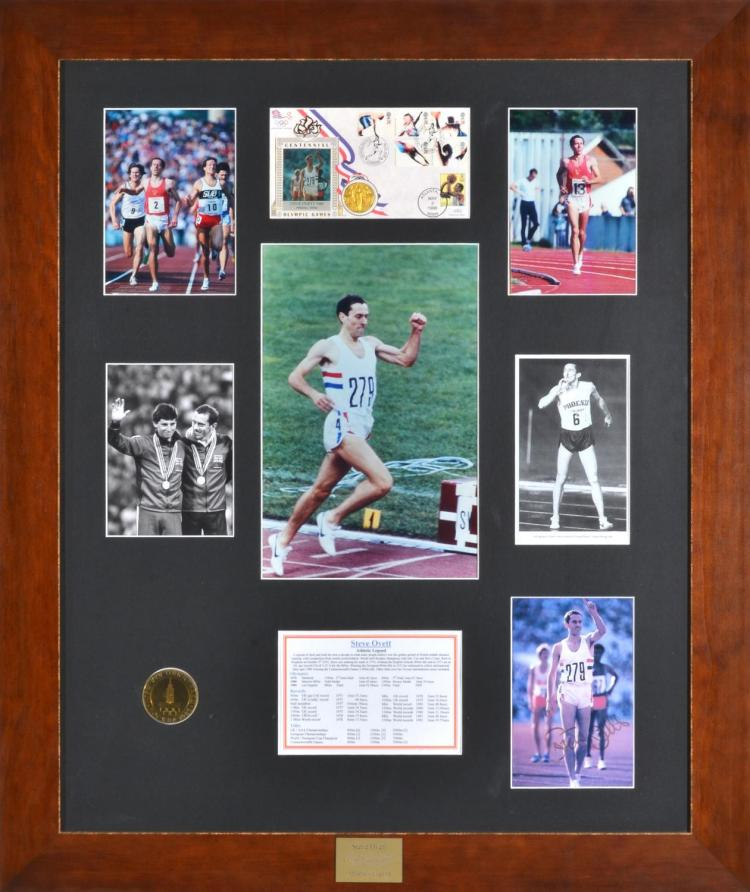 1980 MOSCOW OLYMPIC GAMES FRAMED MONTAGE OF STEVE OVETTE ACHIEVEMENTS WITH PHOTOS, MEDAL AND AUTOGRAPH