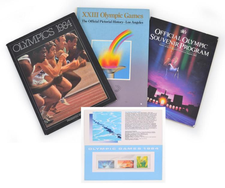 1984 LOS ANGELES OLYMPIC GAMES OFFICIAL SOUVENIR PROGRAM WITH 'OLYMPICS 1984' AND THE OFFICIAL PICTORIAL HISTORY