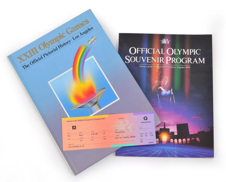 1984 LOS ANGELES OLYMPIC GAMES- THE OFFICIAL PICTORIAL HISTORY WITH OFFICIAL SOUVENIR PROGRAM & FIELD HOCKEY TICKET