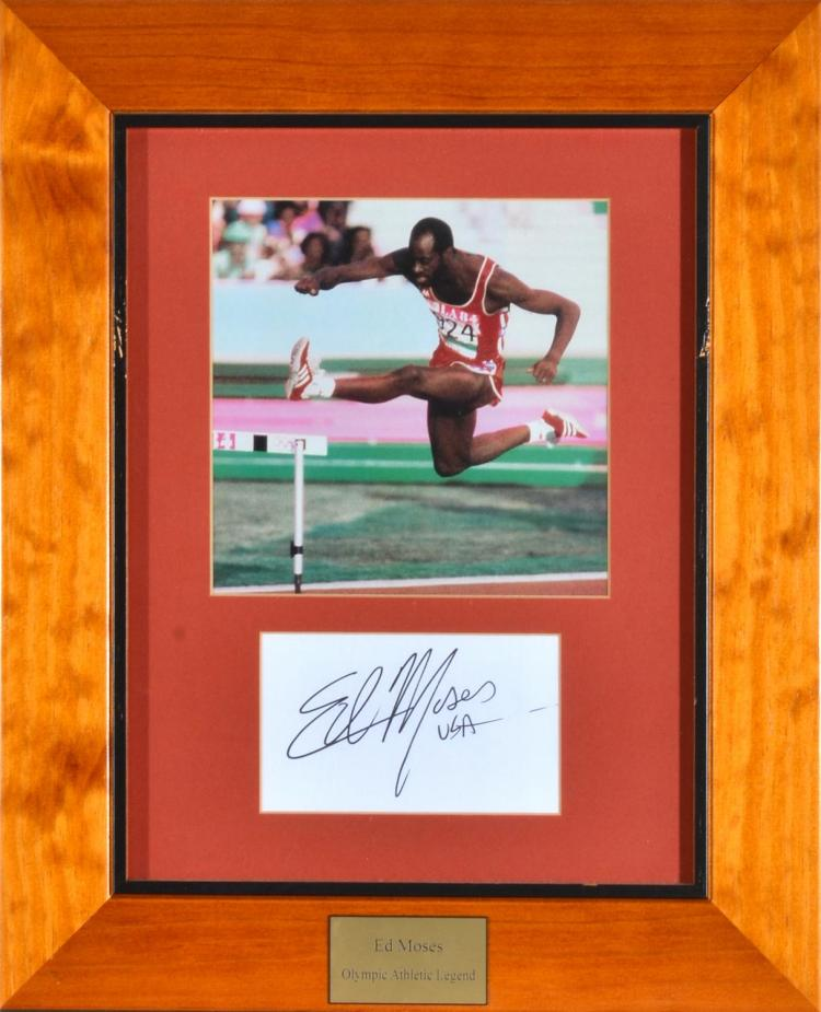 1984 LOS ANGELES OLYMPIC GAMES SIGNED PHOTO OF ED MOSES, FRAMED