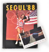 1988 SEOUL OLYMPIC GAMES AUSTRALIAN COMMEMORATIVE TORCH STAMP SET OF THREE STAMPS IN COVER WITH 'SEOUL 1988' OFFICIAL BOOK OF THE GAMES