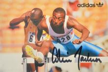 1988 SEOUL OLYMPIC GAMES AUTOGRAPHED CARD OF 110M HURDLES GOLD MEDALLIST COLIN JACKSON