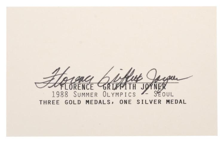 1988 SEOUL OLYMPIC GAMES AUTOGRAPH OF FLORENCE GRIFFITHS JOYNER, THREE-TIME GOLD MEDALLIST