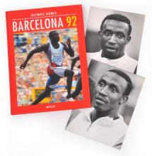 BARCELONA 1992 OLYMPIC HARDBACK WITH TWO PHOTOGRAPHS OF 100M GOLD MEDALLIST LINFORD CHRISTIE