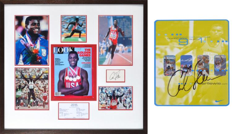 CARL LEWIS AUTOGRAPH ON COMMEMORATIVE CARD C.1996, TOGETHER WITH FRAMED PHOTO MONTAGE, AUTOGRAPH AND LIST OF ATHLETIC ACHIEVEMENTS