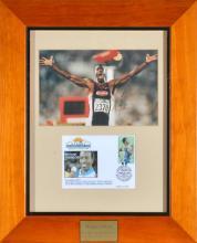 1996 ATLANTA OLYMPIC GAMES FRAMED AUTOGRAPHED PHOTO OF MICHAEL JOHNSON- GOLD MEDALLIST 200M & 400M
