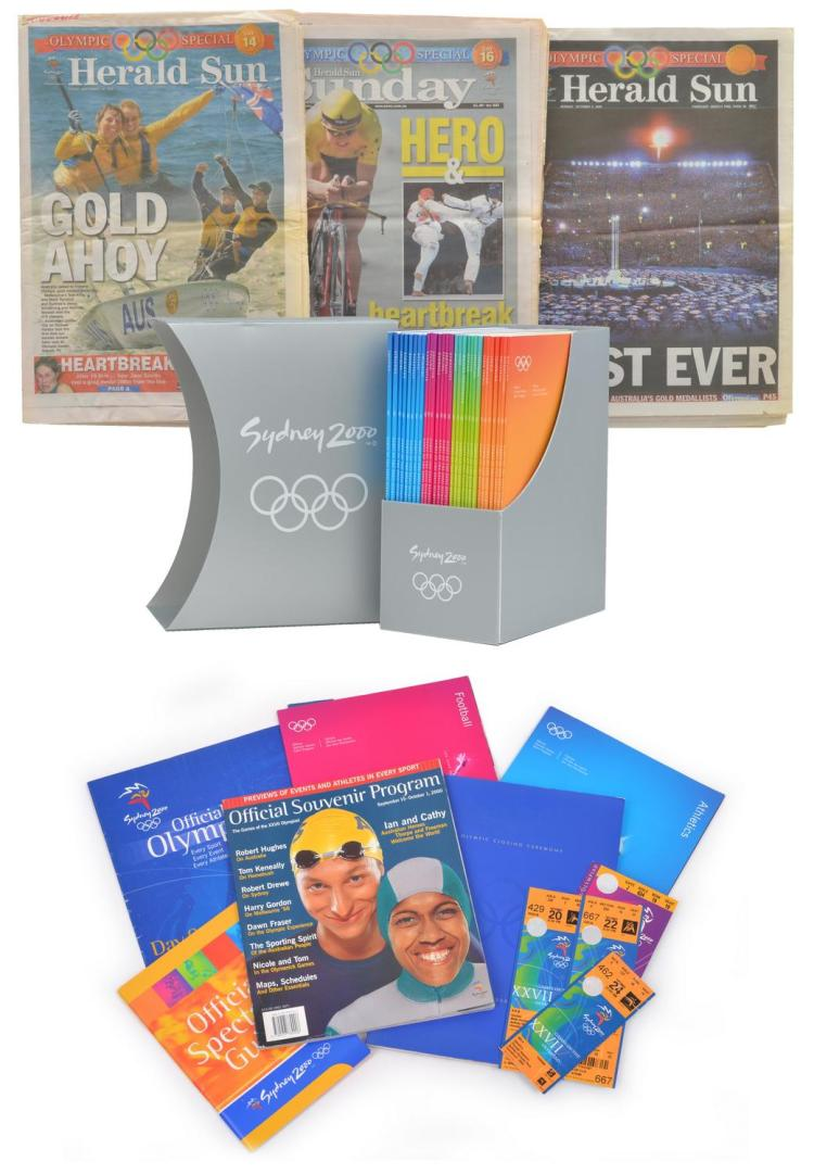 SYDNEY 2000 OLYMPIC GAMES COLLECTION OF SOUVENIR PROGRAMS AND TICKETS WITH TWO ARCHIVE DISPLAY SLEEVES OF AUSTRALIAN NEWSPAPERS.