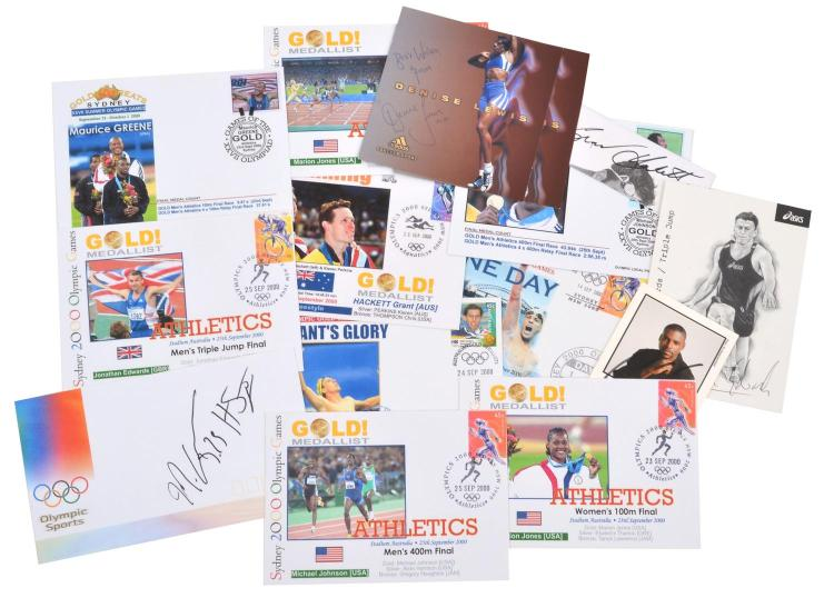 A COLLECTION OF FIRST DAY COVERS OF GOLD MEDALLISTS FROM THE 2000 SYDNEY OLYMPIC GAMES INCL. AUTOGRAPHED, STAMPED