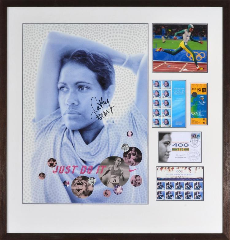 CATHY FREEMAN FRAMED AUTOGRAPHED MONTAGE FROM THE SYDNEY 2000 OLYMPIC GAMES