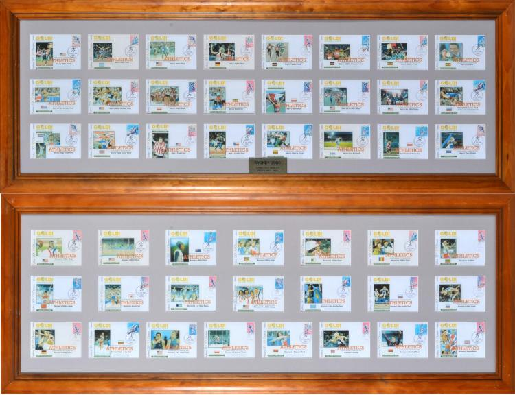 TWO FRAMED COLLECTIONS OF SYDNEY 2000 OLYMPIC GAMES TRACK & FIELD GOLD MEDALLIST FIRST DAY COVERS; MENS & WOMENS GAMES CHAMPIONS (2)