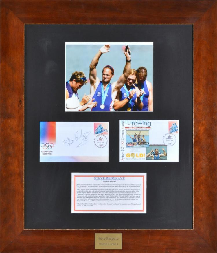 STEVE REDGRAVE- OLYMPIC LEGEND- FRAMED PHOTO, FIRST DAY COVERS (ONE AUTOGRAPHED, BOTH STAMPED), FROM THE SYDNEY 2000 OLYMPIC GAMES