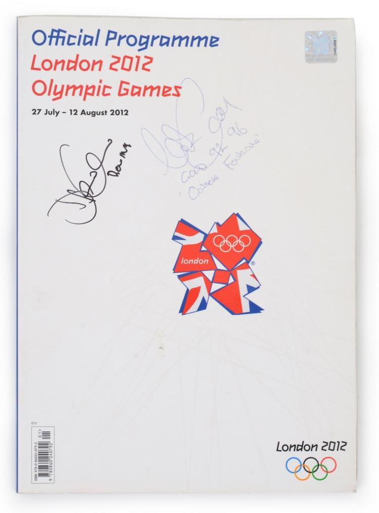 2012 LONDON OLYMPIC GAMES OFFICIAL PROGRAM SIGNED BY OARSOME FOURSOME'S DREW GIN AND NICK GREEN