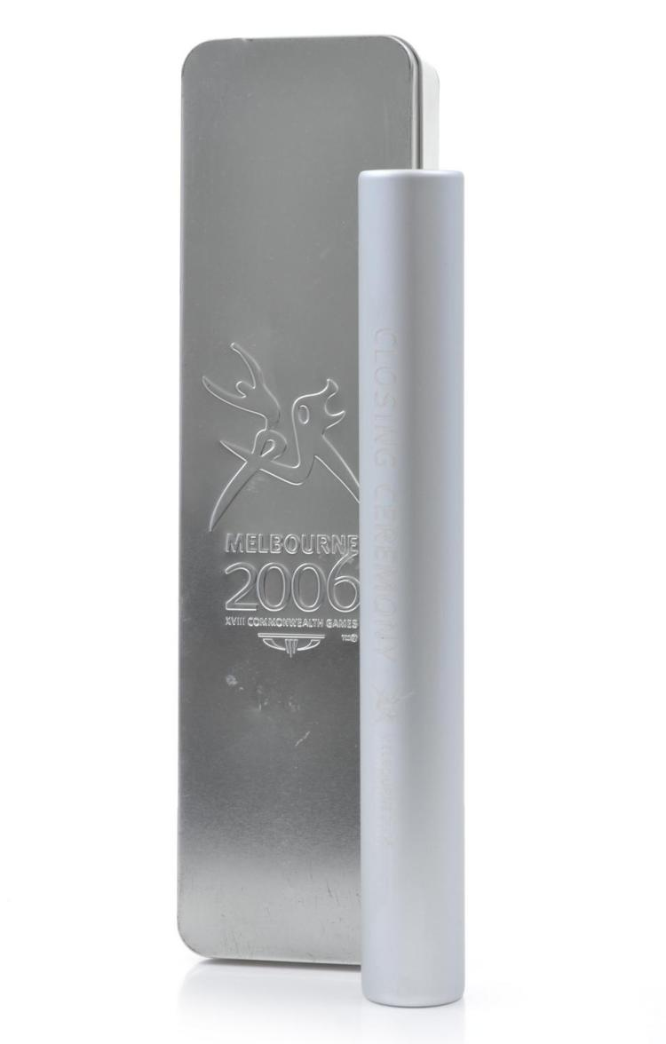 2006 MELBOURNE COMMONWEALTH GAMES CLOSING CEREMONY BATON IN TIN CASE
