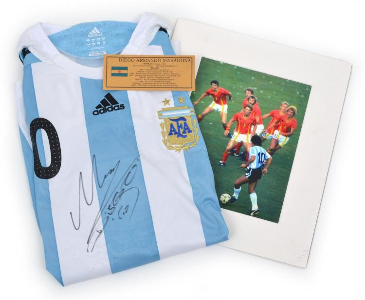 DIEGO MARADONA SIGNED FOOTBALL SHIRT WITH CERTIFICATE OF AUTHENTICITY, PLAQUE FOR FRAME AND PHOTOGRAPH