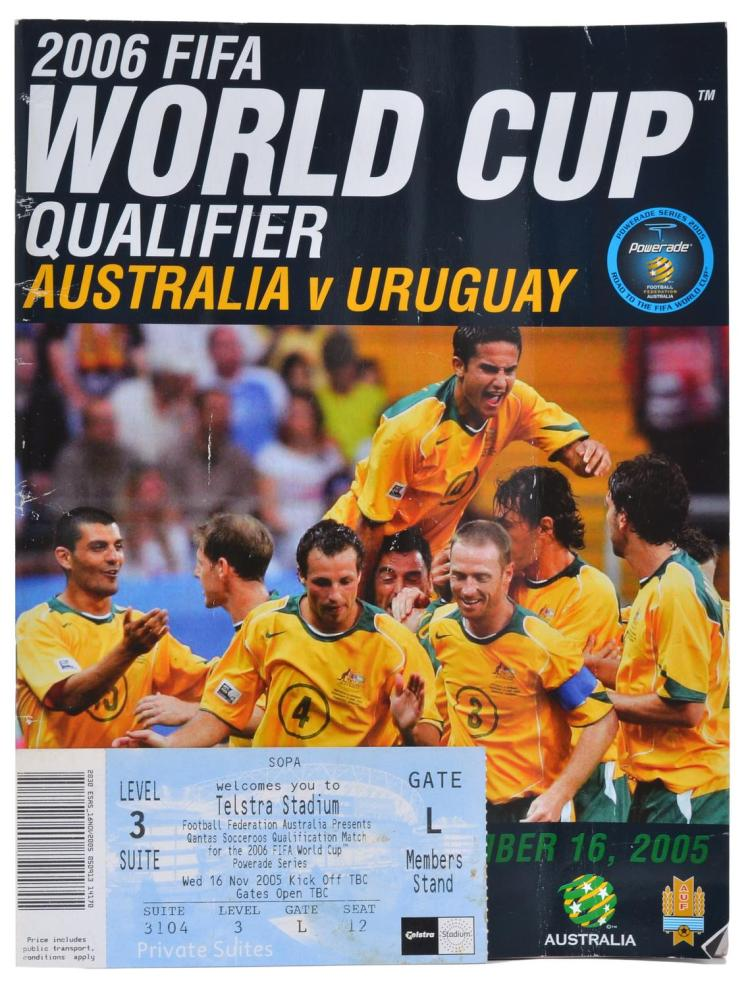 2006 WORLD CUP QUALIFIER PROGRAM- AUSTRALIA V URUGUAY; WITH CORPORATE BOX TICKET