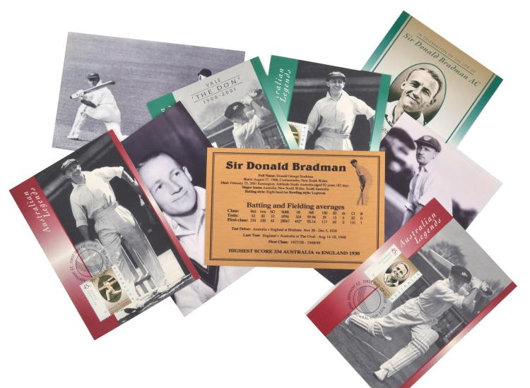 THREE SIR DONALD BRADMAN PHOTOGRAPHS WITH FIVE AUSTRALIA POST 'AUSTRALIAN LEGENDS' FIRST DAY COVERS AND ACHIEVEMENT PLAQUE