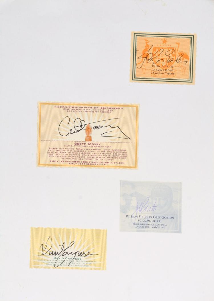 AN AUTOGRAPH SHEET FEATURING JOHN EALES, GEOFF TOVEY, RT HON IR JOHN GORTON AND DAVID CAMPESE