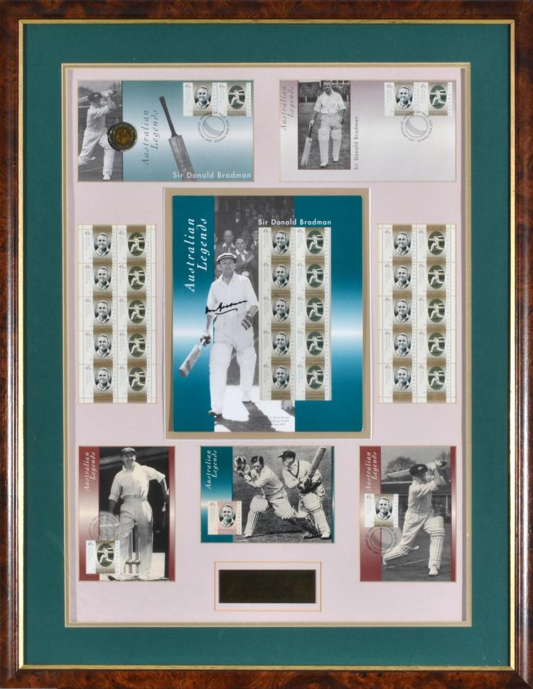 FRAMED & SIGNED SIR DONALD BRADMAN AUSTRALIA POST 'AUSTRALIAN LEGENDS' TRIBUTE COLLECTION OF FIRST DAY COVERS & AUTOGRAPHED STAMP SHEET