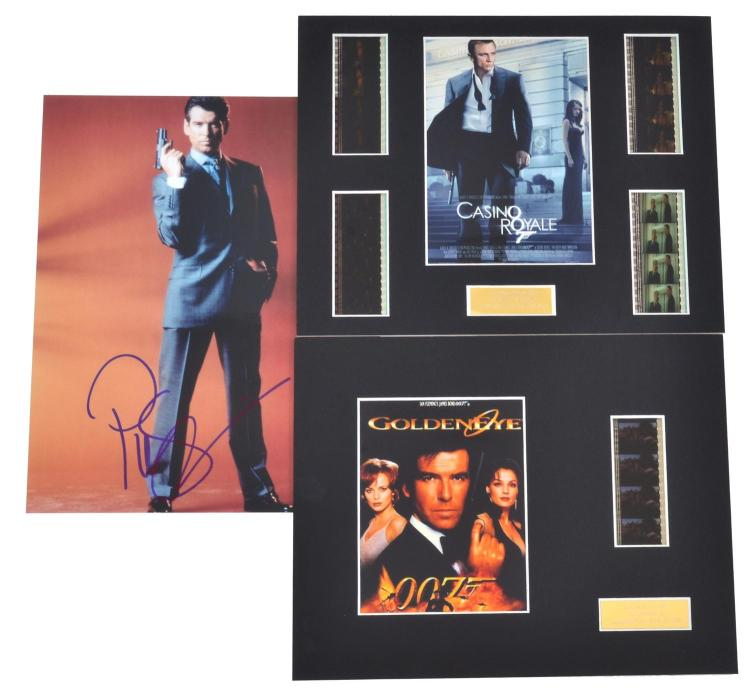JAMES BOND- GOLDEN EYE- LIMITED FILM CELL AND POSTER FRAME WITH PIERCE BROSNAN AUTOGRAPHED PHOTO