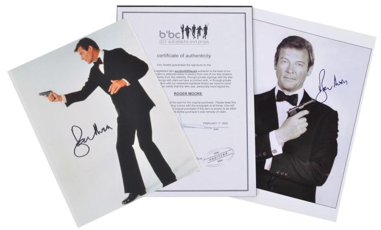 JAMES BOND- ROGER MOORE COLLECTION OF TWO PHOTOGRAPHS, BOTH AUTOGRAPHED