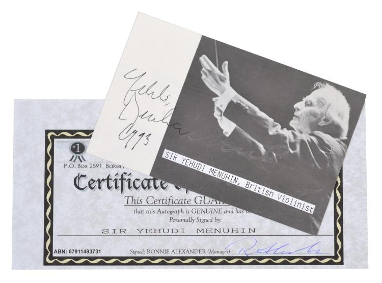 SIR YEHUDI MENUHIN; BRITISH VIOLINIST AND ORCHESTRAL LEGEND SIGNED PHOTOGRAPH WITH CERTIFICATE OF AUTHENTICITY