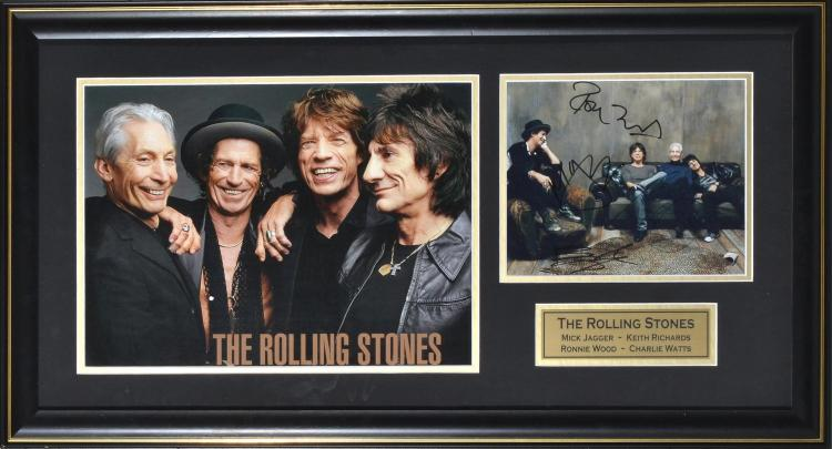 ROLLING STONES FRAMED PHOTOGRAPHS (2), ONE AUTOGRAPHED BY ALL FOUR BAND MEMBERS, WITH CERTIFICATE OF AUTHENTICITY