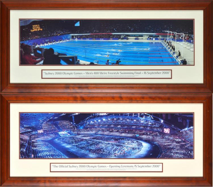 TWO FRAMED COMMEMORATIVE PHOTOGRAPHS OF THE SYDNEY 2000 OLYMPIC GAMES OPENING CEREMONY AND THE MEN'S 400M FREESTYLE FINAL