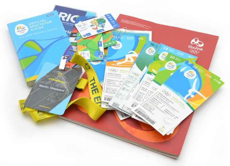 A COLLECTION OF BEIJING 2008 AND RIO 2016 OLYMPIC GAMES EPHEMERA INCLUDING CLOSING CEREMONY PROGRAM, SPECTATOR GUIDE AND TICKETS.