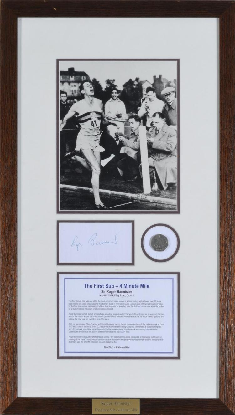 ROGER BANNISTER FRAMED PHOTO, AUTOGRAPH, AND COIN COMMEMORATING THE FIRST SUB-FOUR MINUTE MILE