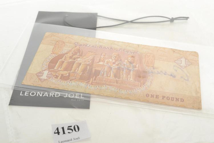 CASSIUS CLAY AUTOGRAPHED EGYPTIAN ONE POUND NOTE WITH PROVENANCE AND STATUTORY DECLARATION