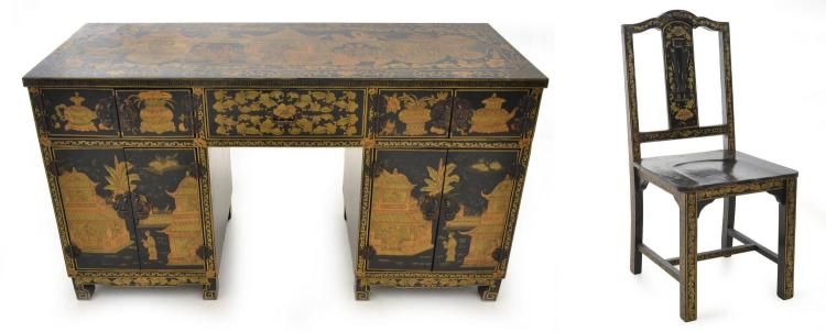 A LACQUERED CHINOSERIE DESK & CHAIR