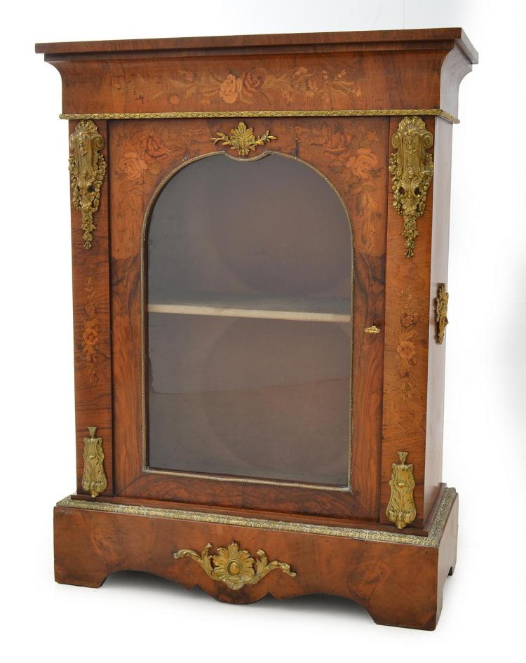 A VICTORIAN GILT METAL MARQUETRY AND BURR WALNUT INLAID SINGLE DOOR SIDE CABINET