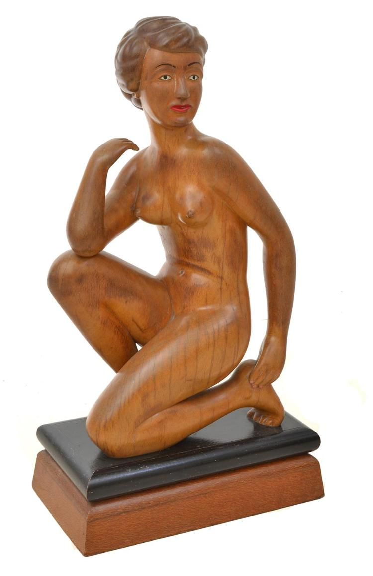 AN ART DECO CARVED WOODEN FIGURE OF A NUDE