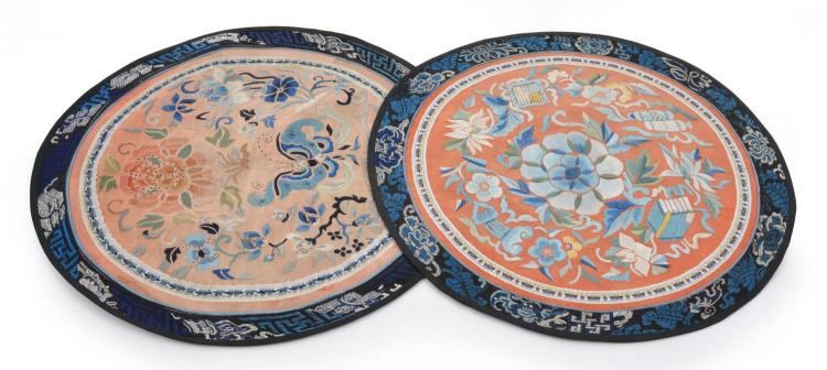A PAIR OF CHINESE CIRCULAR EMBROIDERED SILK PANELS