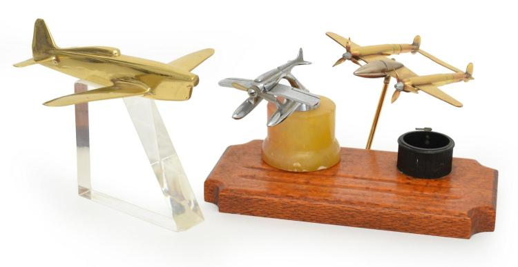 A COLLECTION OF THREE CAST METAL AVIATION MODEL INCLUDING AN INK STAND (INCOMPLETE)