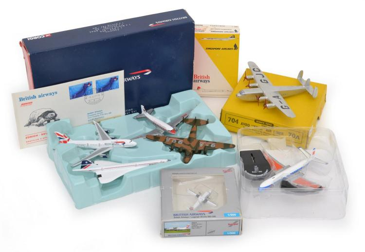 DINKY AVRO 'YORK' LINER, BRITISH AIRWAYS GROUP, THREE OTHER MODELS AND A BRITISH AIRWAYS FIRST DAY COVER
