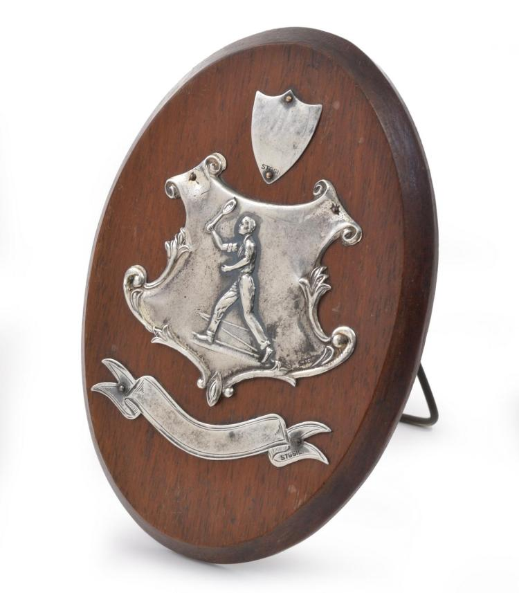 AN AUSTRALIAN STERLING SILVER MOUNTED BLACKWOOD TENNIS PLAQUE