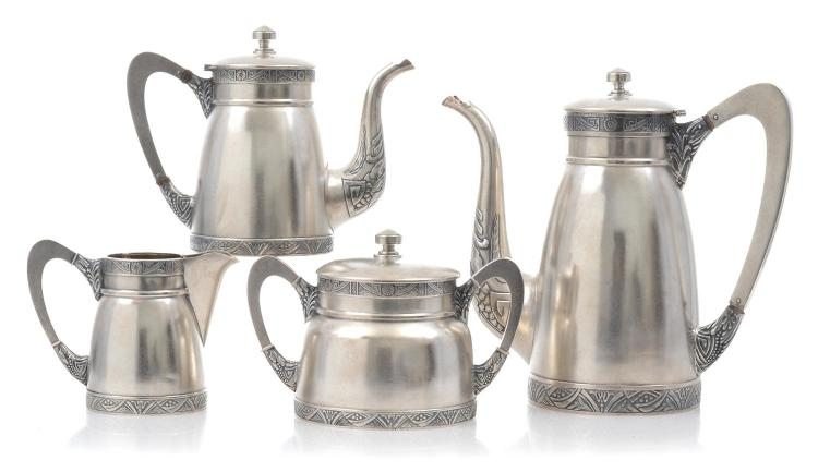 A FOUR PIECE RUSSIAN EMIGRE SILVER TEA AND COFFEE SERVICE, CIRCA 1930S