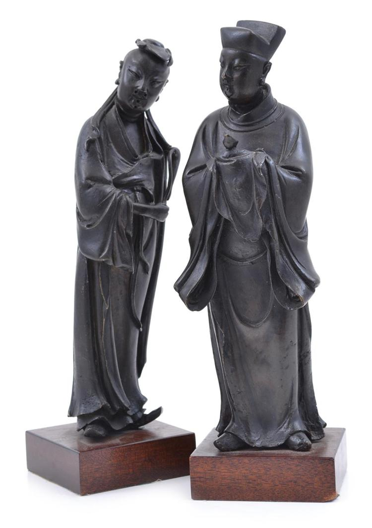 TWO CHINESE BRONZE STATUES OF SAGES MING DYNASTY, 17TH CENTURY, CIRCA 1620