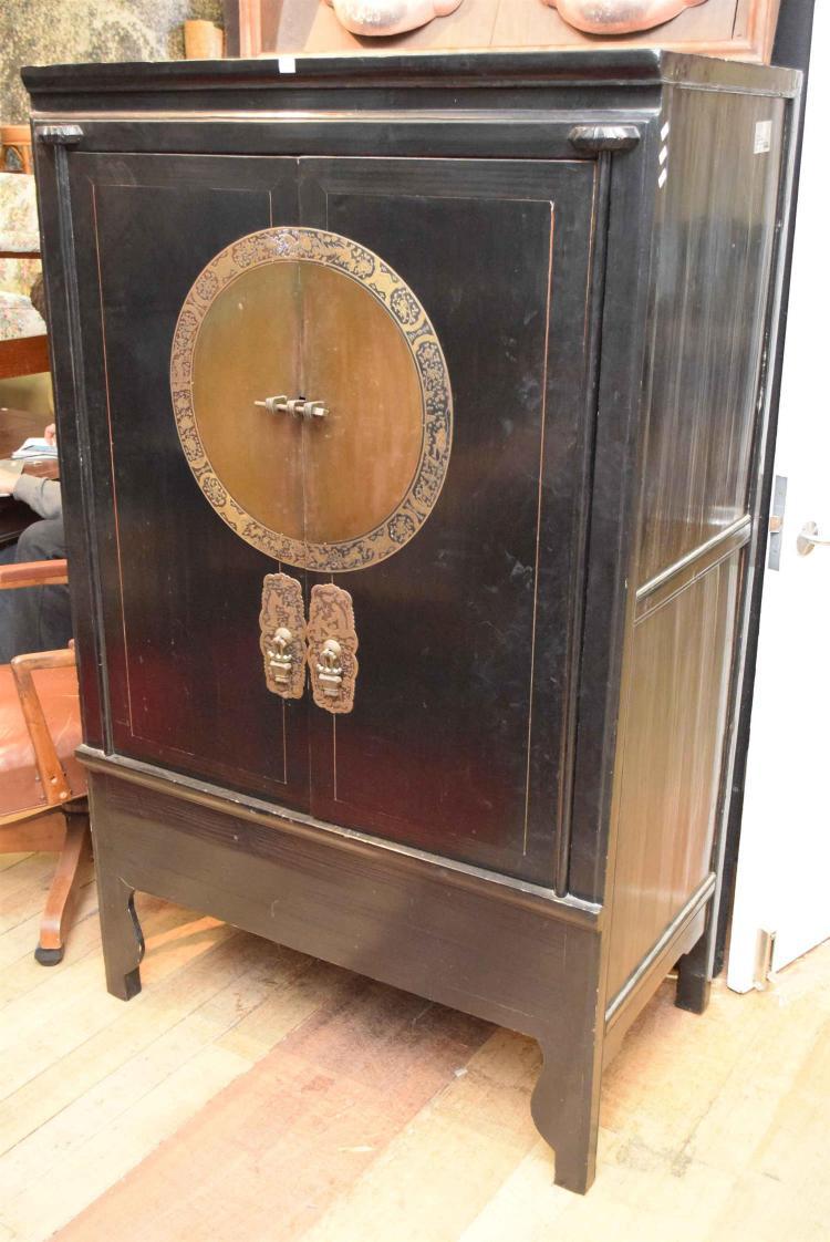 An oriental black lacquered cabinet h174cm x w107cm x d61cm for Oriental cabinet
