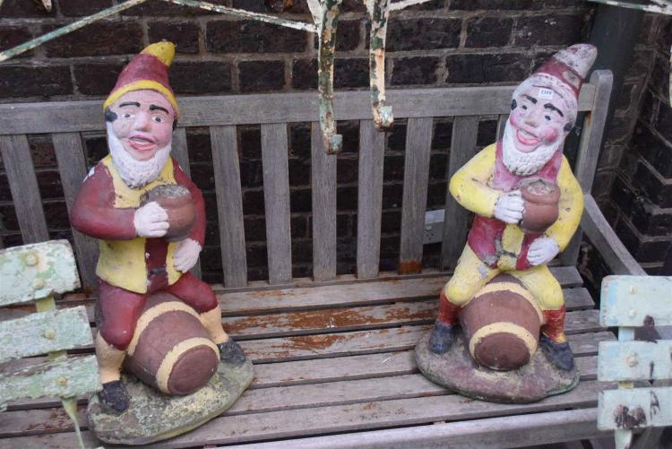 Gnome In Garden: A PAIR OF LARGE GARDEN GNOMES