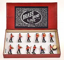 BRITAINS NO.27 BRASS BAND OF THE LINE, DARK BLUE AND SILVER BOX LABEL