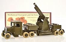 BRITAINS MECHANICAL TRANSPORT AND AIRFORCE EQUIPMENT UNDERSLUNG LORRY WITH ANTI AIRCRAFT GUN SET NO.1643