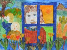 GINA PECK 'AND WATCHED THE WHOLE WORLD MOVE AROUND YOU' PAINTING, FRAMED & GLAZED, 96 X 78CMS