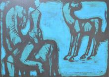 DAVID ROSE, TWO HORSES AND FEMALE FIGURE, PRINT 6/20, 37 X 53 CM